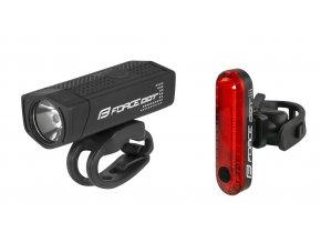 světla sada FORCE DOT USB přední+zadní