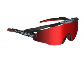 brýle FORCE EVEREST, černé mat, červ. zrc. skla