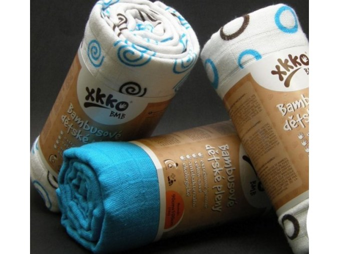 KIKKO Bambusová osuška XKKO BMB Spirals&Bubbles Cyan 90x100cm