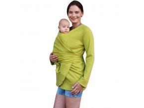 blanka biobavlneny zavinovaci kabatek pro tehotne a nosici zeny limetkova (1)