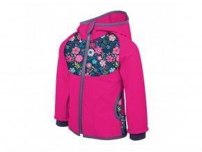 Unuo - Softshellová bunda s fleecem - Květinky Fuchsiová