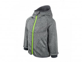 Unuo - Softshellová bunda s fleecem - Šedý Melír (Limetkový zip, obrázek Evžen)