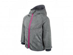 Unuo - Softshellová bunda s fleecem - Šedý Melír (Růžový zip, obrázek Evžen)