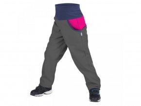 Unuo - DĚTSKÉ Softshellové kalhoty s fleecem DUO - Antracitové s Fuchsiovou