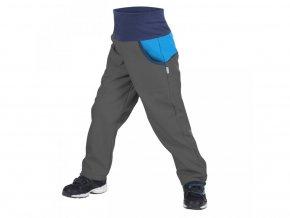 Unuo - DĚTSKÉ Softshellové kalhoty s fleecem DUO - Antracitové s Tyrkysovou