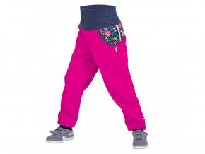 Unuo - DĚTSKÉ Softshellové kalhoty s fleecem - Květinky