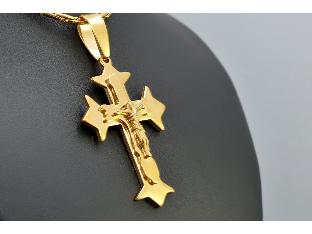 S1202 KŘÍŽEK GOLD z chirurgické oceli 6,1cm