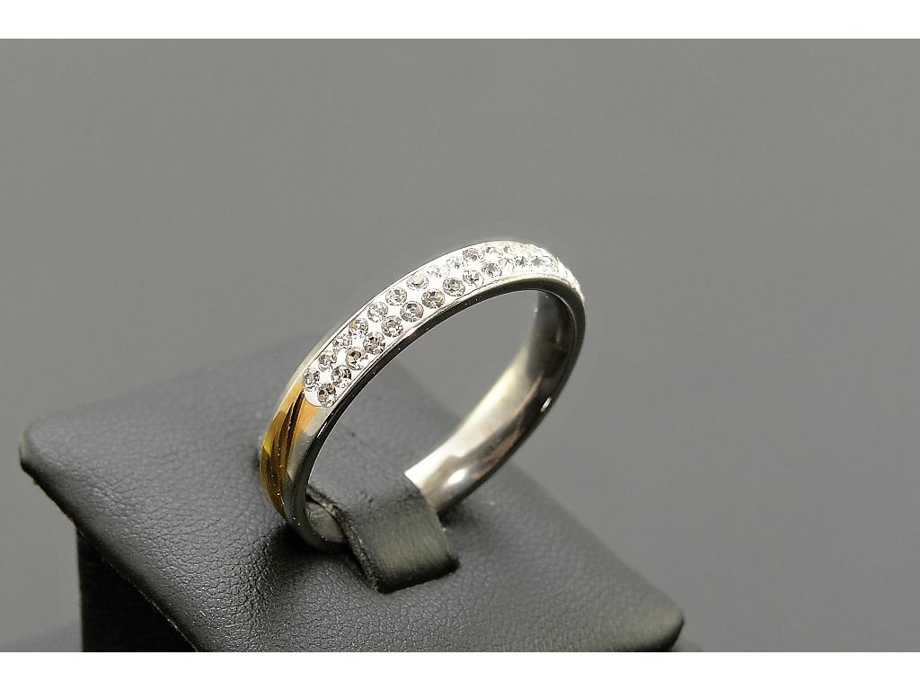 S1660 Prstýnek z chirurgické oceli GOLD/SILVER s krystalky