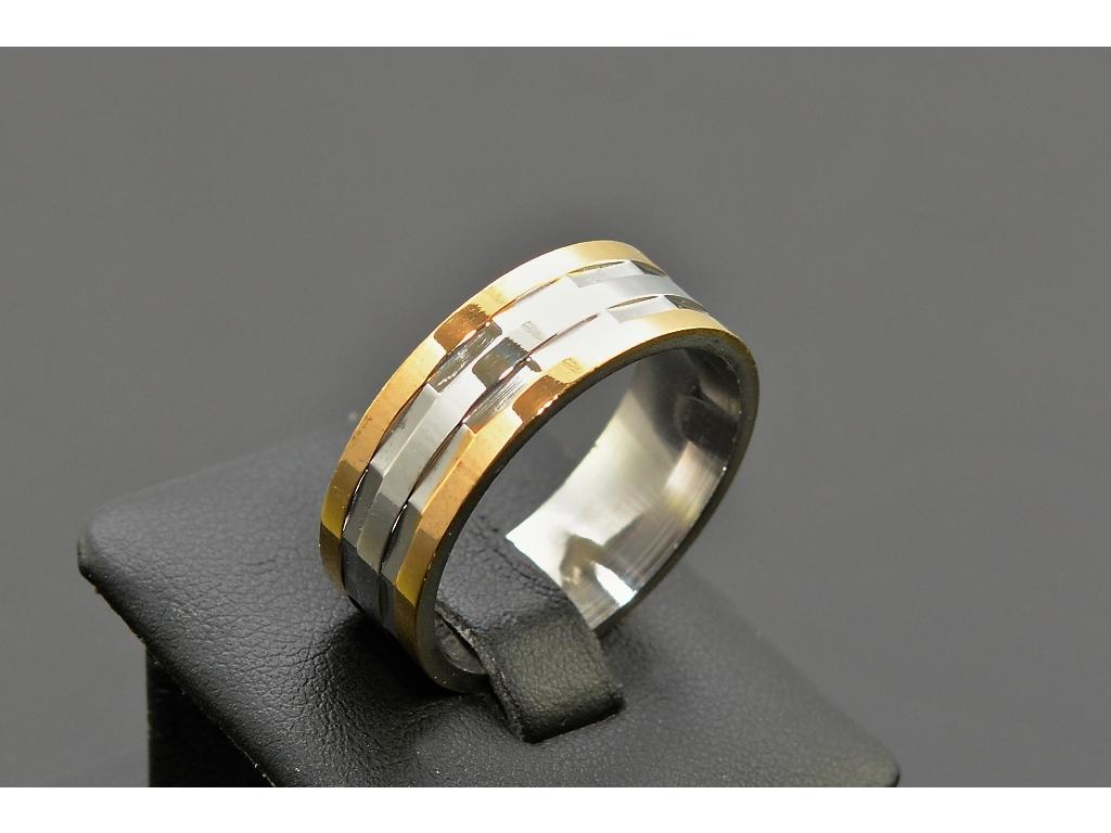 S1664 PRSTEN SILVER/GOLD z chirurgické oceli