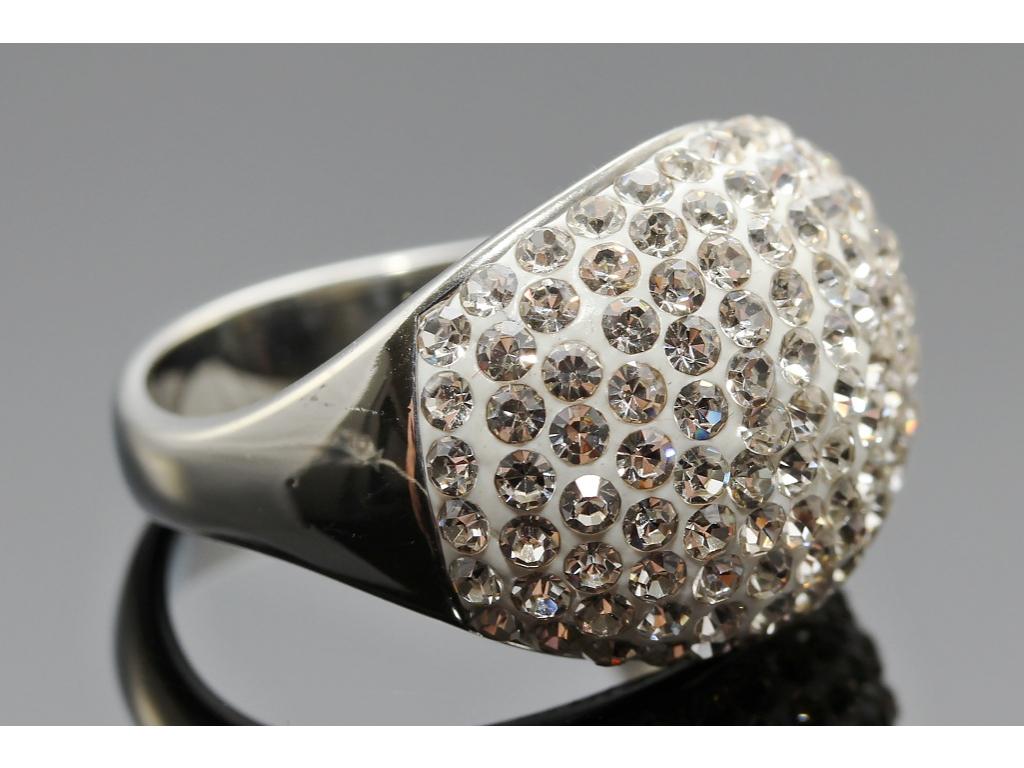 S2254 Prstýnek z chirurgické oceli s krystalky