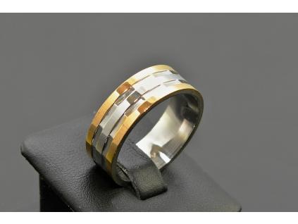 S1664 PÁNSKÝ PRSTEN SILVER/GOLD z chirurgické oceli