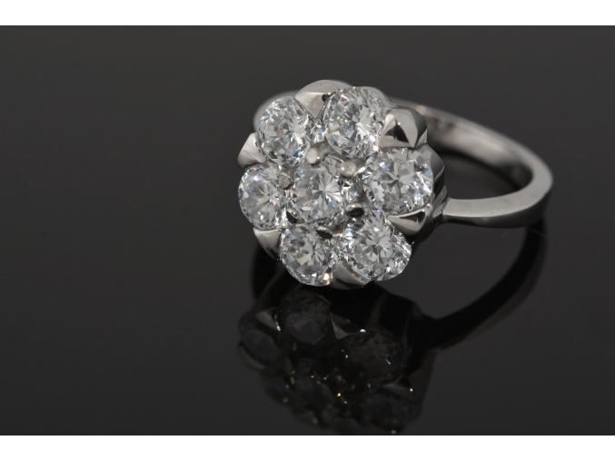 S0012 Ocelový prsten osázený 7 krystaly
