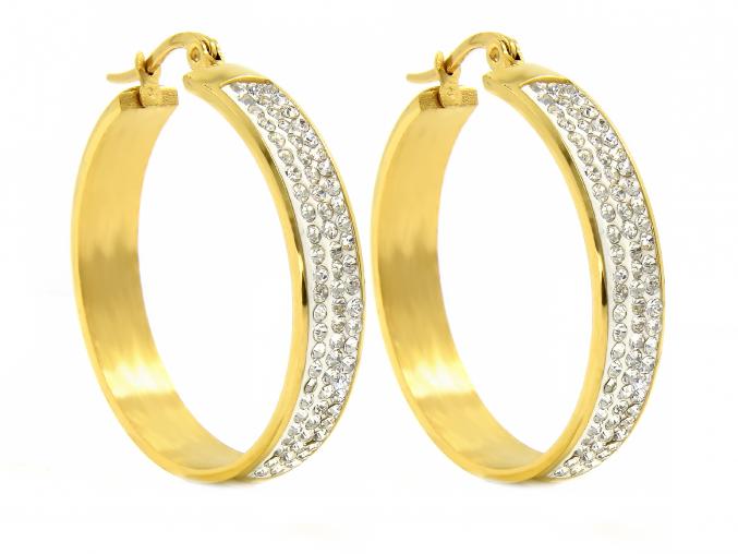 S0995 Náušnice GOLD s krystalky - chirurgická ocel 3,2cm