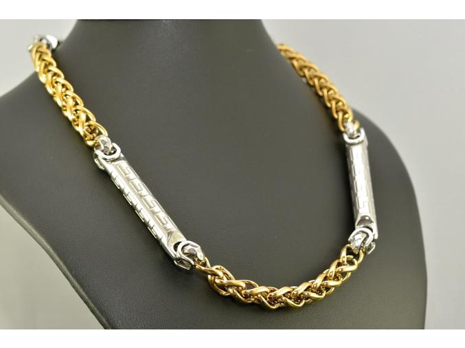 S1014 Ocelový řetěz SILVER/GOLD 59/0,8cm