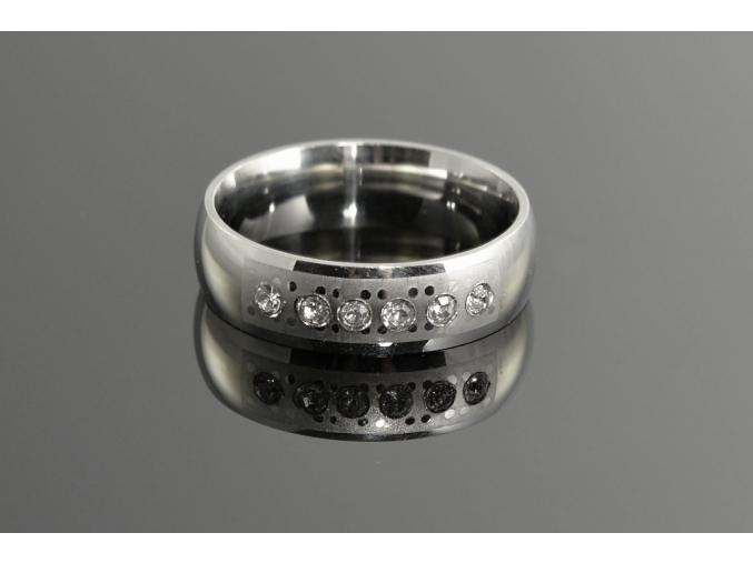 S1045 Ocelový prstýnek - 6 krystalků
