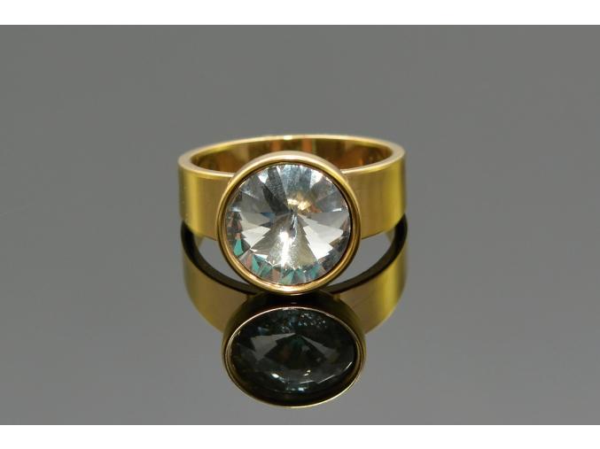 S1371 Prstýnek s krystalkem z chirurgické oceli GOLD
