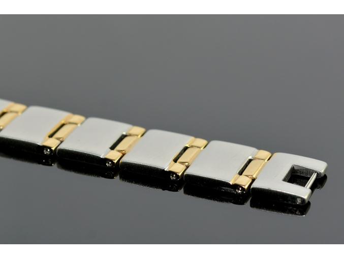 S1343 Náramek z chirurgické oceli SILVER/GOLD 21,5/1,5 cm