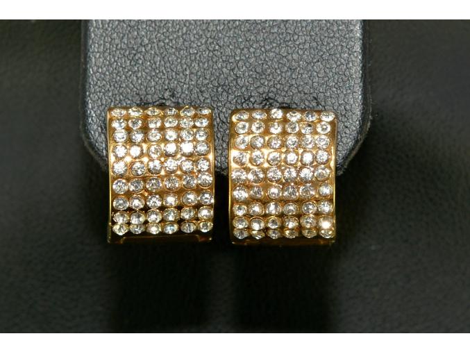 S1386 Náušnice kroužky z chirurgické oceli GOLD s krystalky 1,7cm