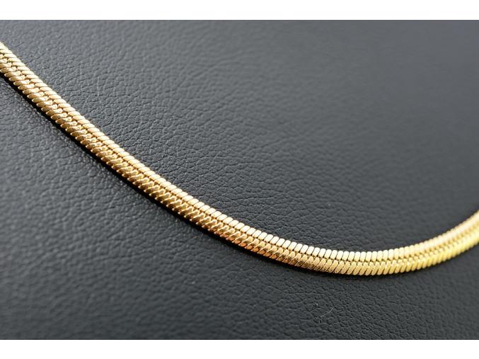 S1625 Plochý hladký řetízek GOLD z chirurgické oceli 59/0,3 cm