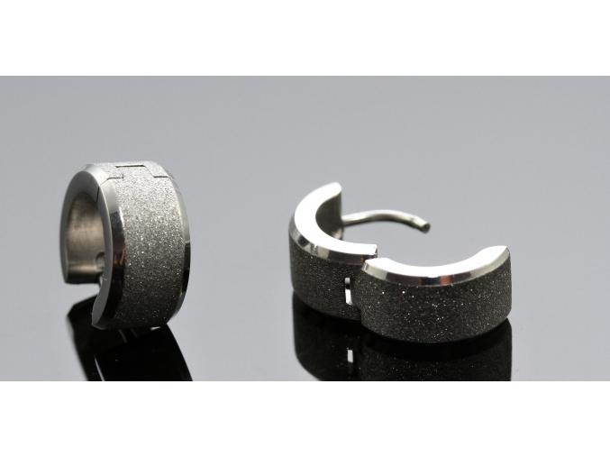 S1791 Náušnice pískované KROUŽKY z chirurgické oceli
