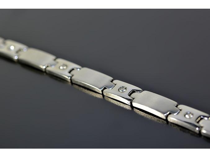 S0312 Náramek z chirurgické oceli s krystalky 22 cm