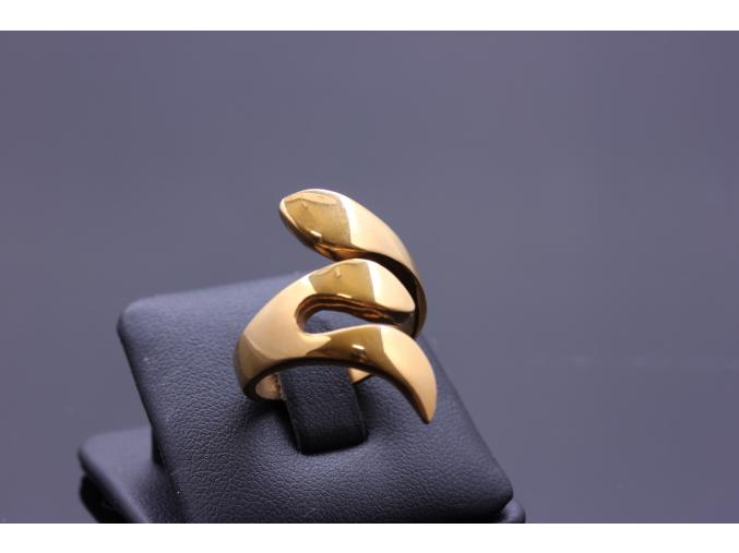 S0593 Extravagantní prsten z chirurgické oceli GOLD