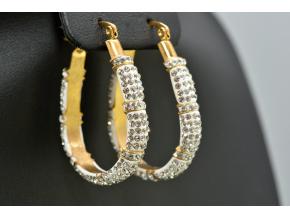S0991 Podlouhlé náušnice z chirurgické oceli GOLD s krystalky