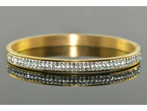 S1037 Pevný ocelový GOLD náramek s krystalky