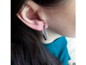 S1099 Náušnice z chirurgické oceli KRUHY s krystalky 2,5cm
