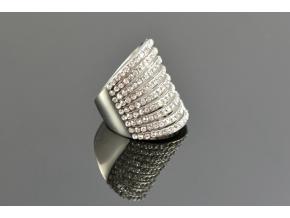 S1241 Prsten z chirurgické oceli osázený mnoha zirkony