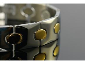 S1342 Náramek z chirurgické oceli GOLD/SILVER 21,5/1,3cm