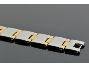 S1343 Náramek z chirurgické oceli SILVER/GOLD 21,5/1,5cm