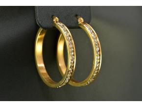S0378 Náušnice z chirurgické oceli KRUHY GOLD s krystalky 3,5cm