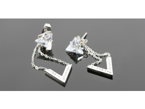 S2711 Visací náušnice trojúhelník s krystalkem