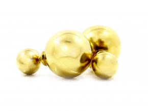 S2724 Oboustranné náušnice KULIČKY GOLD z chirurgické oceli