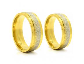 S2750 Prsten z pískované chirurgické oceli GOLD/SILVER
