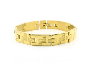 S2758 Náramek GOLD z chirurgické oceli 21,5/1,2 cm