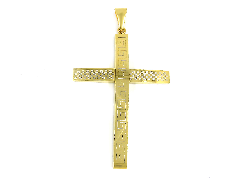 S1610 Přívěsek KŘÍŽ GOLD z chirurgické oceli