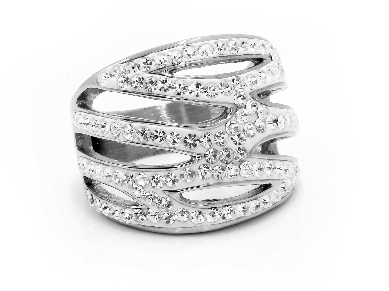 S1871 Masivní extravagantní třpytivý prsten z chirurgické oceli Velikost: 6