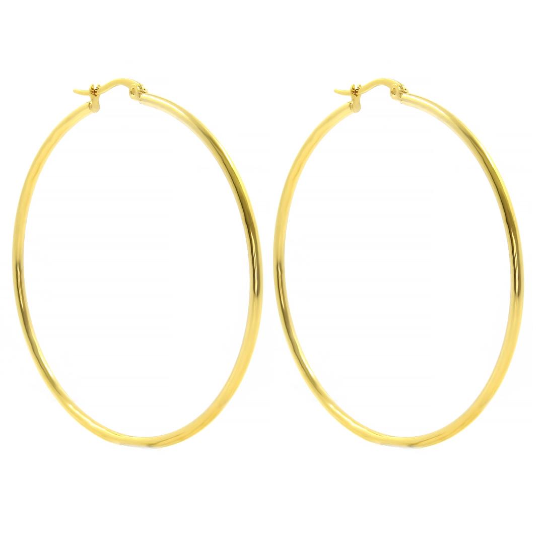 Levně S1970 Náušnice KRUHY GOLD 7 cm