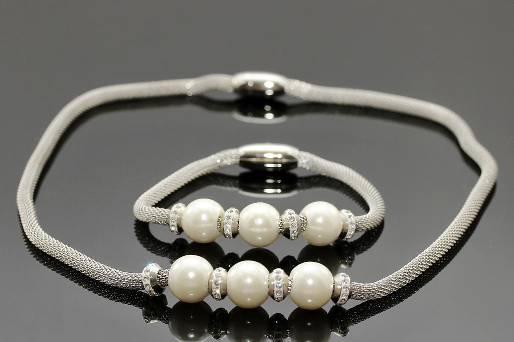 S2144 Perlová souprava náhrdelník + náramek z chirurgické oceli