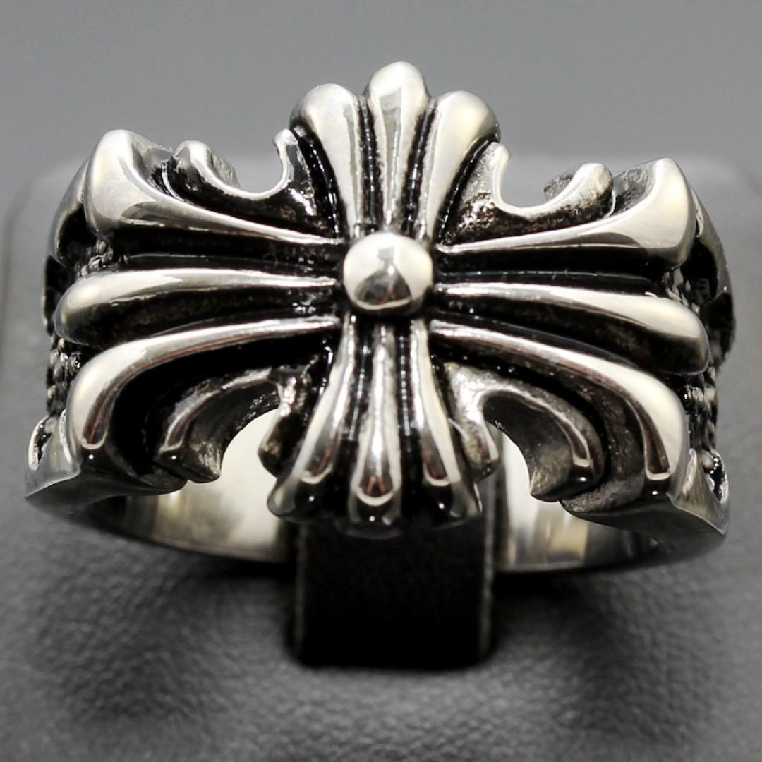 S2249 Masivní prsten KŘÍŽ z chirurgické oceli Velikost: 9