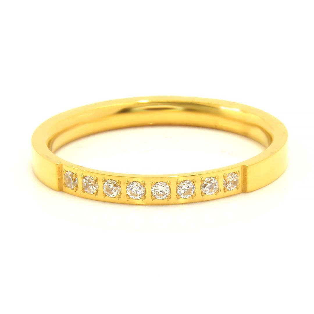 Levně S2273 Prstýnek s krystalky z chirurgické oceli GOLD Velikost: 10