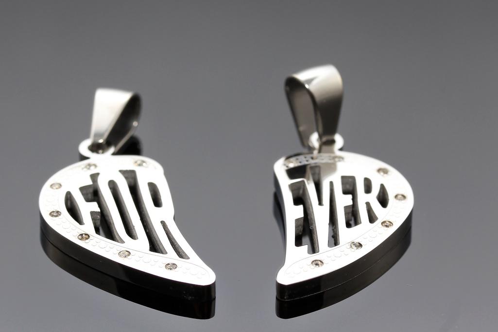 S2333 Přívěsek pro dva FOR EVER - chirurgická ocel