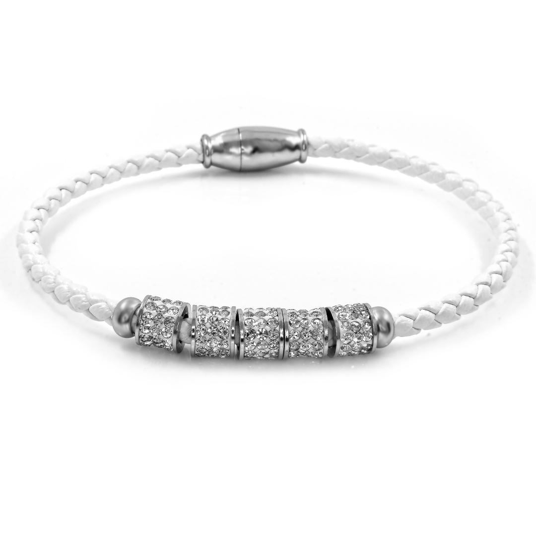 S2546 Dámsky kožený náramek s krystalky bílý