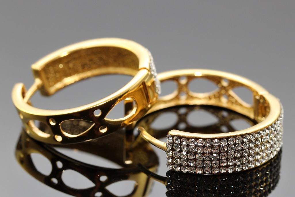 S2640 Náušnice KRUHY s kamínky GOLD
