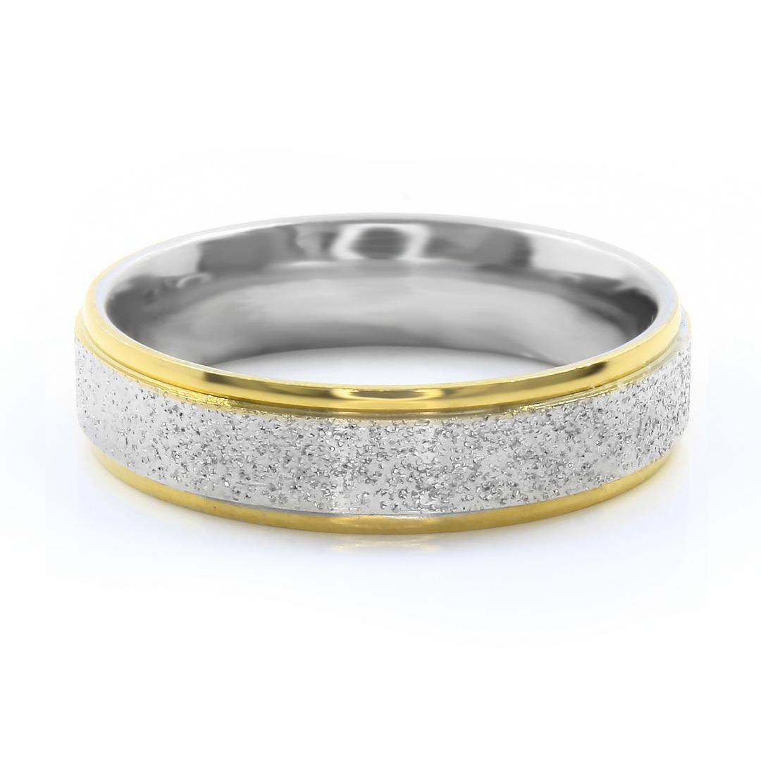 Levně S2782 Prsten z pískované chirurgické oceli SILVER/GOLD Velikost: 13