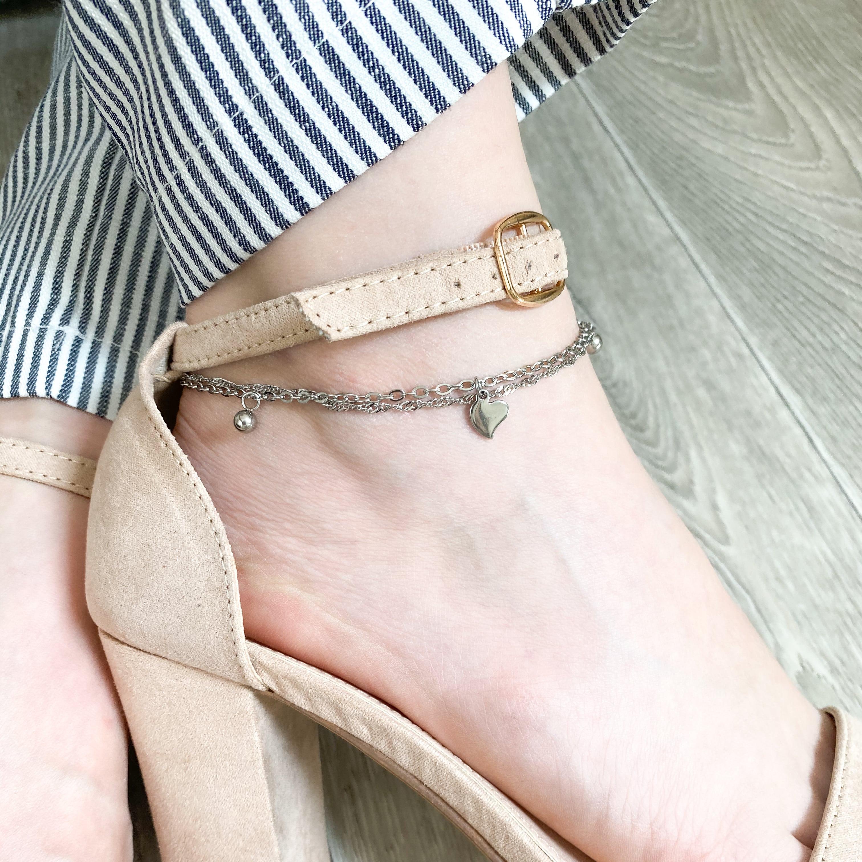 S2783 Řetízek na nohu dvojitý PLNÉ SRDÍČKO