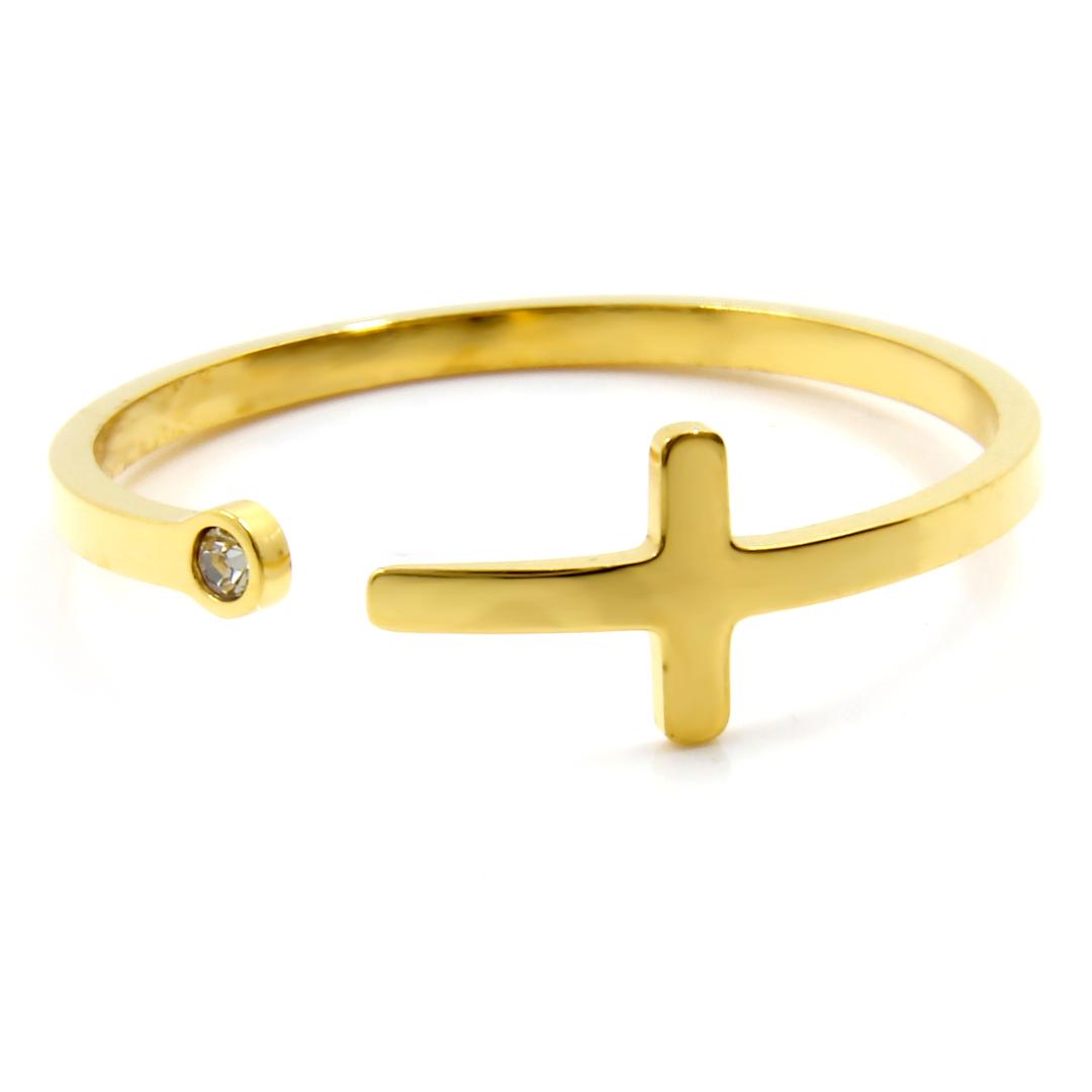 Levně S3075 Prstýnek s křížkem GOLD Velikost: 11