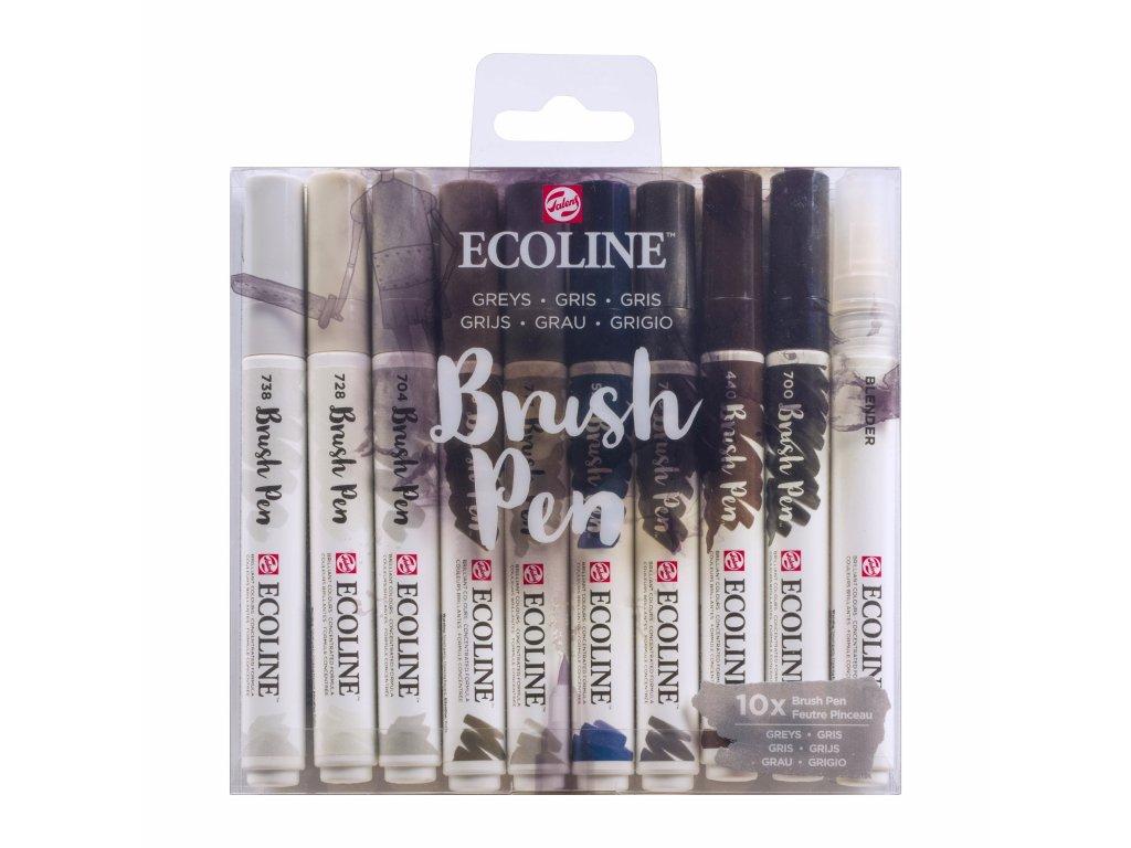 Ecoline brush pen – sada Greys 10 ks